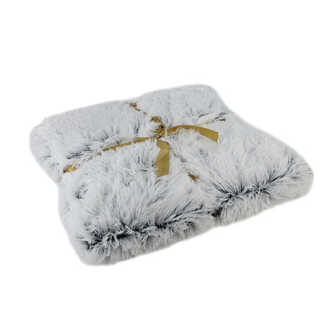 "Gray Plush Faux Fur Decorative Rectangular Throw Blanket 55"" x 62"""