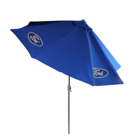 9ft Outdoor Patio Ford Umbrella with Hand Crank and Tilt, Blue