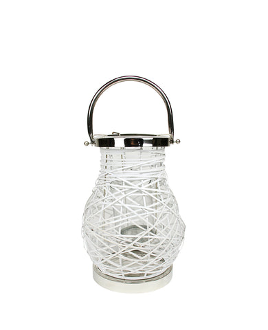 "13.5"" Modern White Decorative Woven Iron Pillar Candle Lantern with Glass Hurricane"