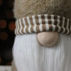 "21"" Holiday Moments Tan Striped Trim Hat Decorative Table Top Cone Gnome"