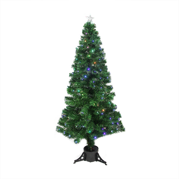 6' Pre-Lit LED Color Changing Fiber Optic Christmas Tree with Star Tree Topper