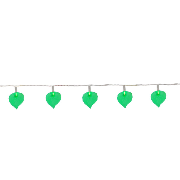 10-Count Green Leaf Patio Novelty Christmas Light Set, 6ft White Wire