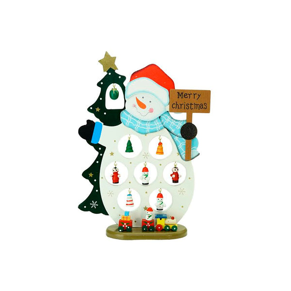 "10.25"" White and Blue Snowman Merry Christmas Cut-Out Tabletop Decor"