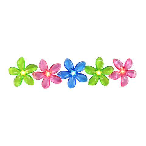 10-Count Pink and Green Flower Patio Garden Novelty Light Set, 6ft White Wire