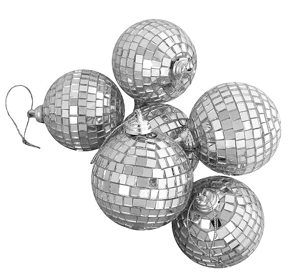 "6ct Silver Splendor Mirrored Glass Disco Ball Christmas Ornaments 3.25"" (80mm)"