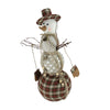 "15.75"" Brown and White Plaid Snowman Christmas Decor"