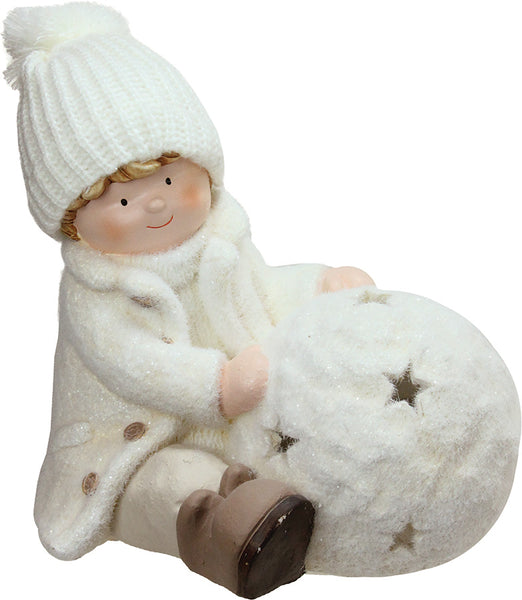 "12.5"" White Christmas Snowball with Sitting Boy Tealight Candle Holder"