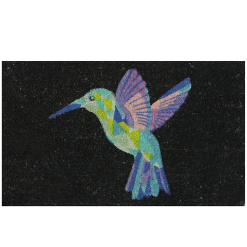 Green and Purple Hummingbird Doormat 18 x 29