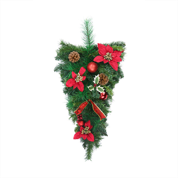 "32"" Red Poinsettia Pine Cone and Ball Artificial Christmas Teardrop Swag - Unlit"