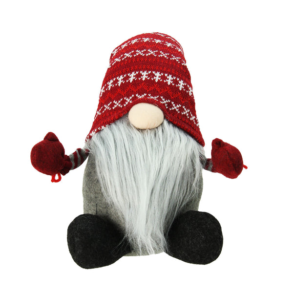 "22"" Red and Gray Nordic Santa Christmas Gnome Tabletop Figure"
