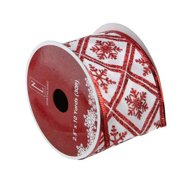 "Red and White Snowflake Christmas Wired Craft Ribbon 2.5"" x 10 Yards"