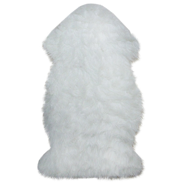 2' x 3' Furry Chic Ivory White Faux Fur Plush Pile Area Throw Rug