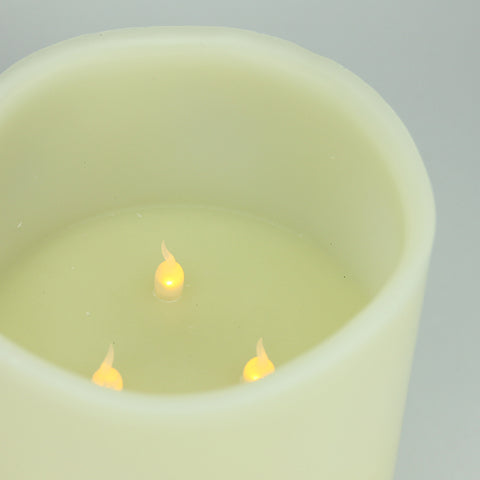 "10"" Ivory Battery Operated Flameless LED Lighted 3-Wick Flickering Wax Christmas Pillar Candle"