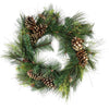 Artificial Mixed Pine with Pine Cones and Gold Glitter Christmas Wreath - 30 -Inch, Unlit