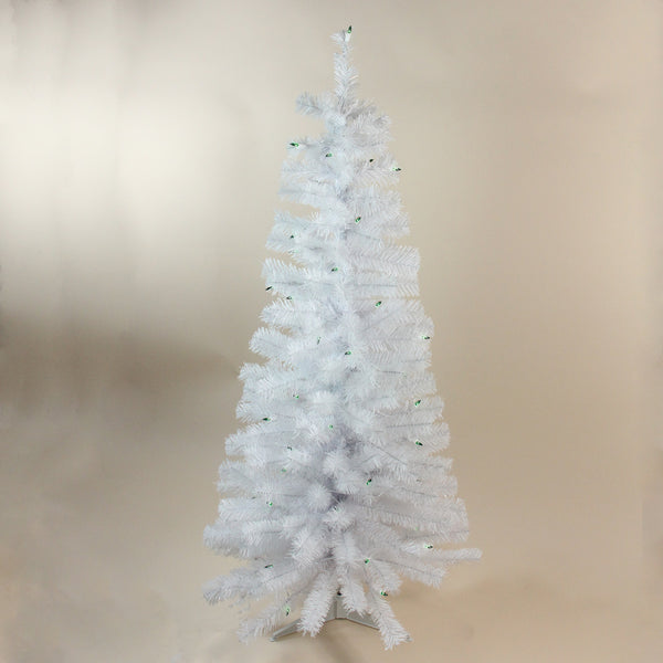 "4' x 24"" Pre-Lit White Artificial Christmas Tree with Green Lights"