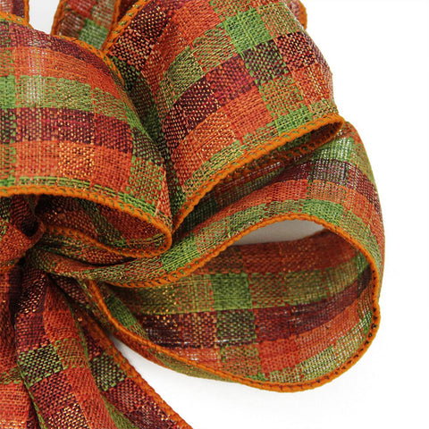 "8"" x 16"" Fall Harvest Orange, Green and Burgundy Plaid 6 Loop Bow Decoration"