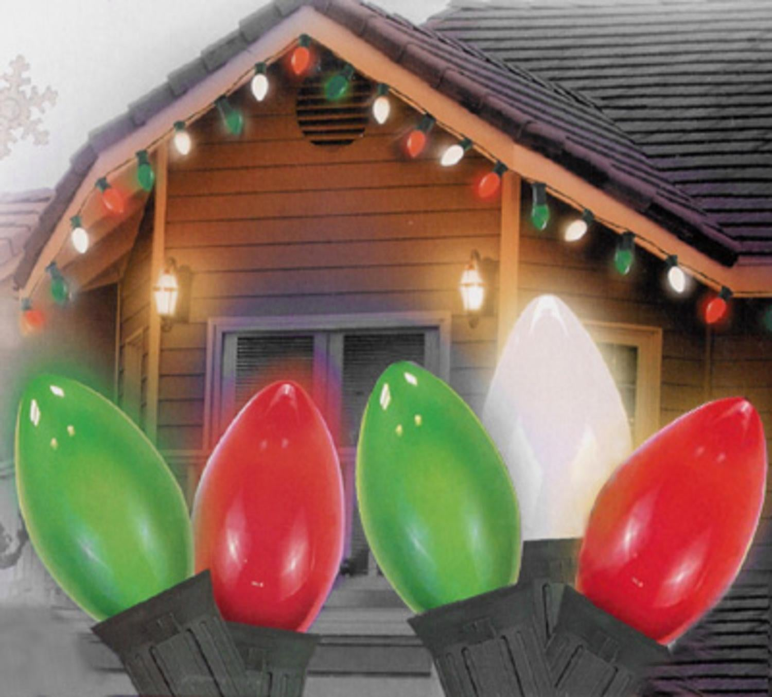 25 opaque green clear white and red c9 christmas lights 24 ftgreen wire