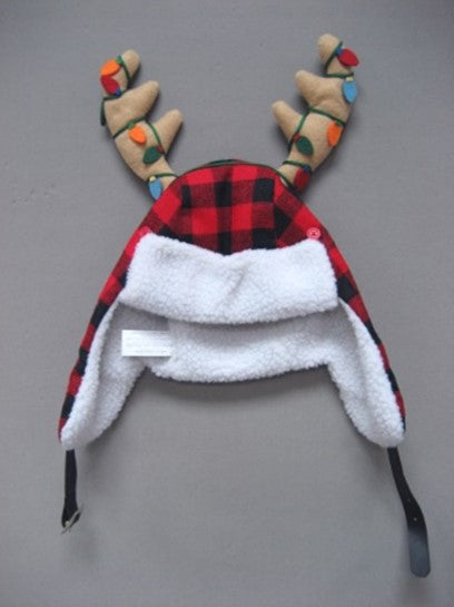 buffalo plaid trapper hat with antlers