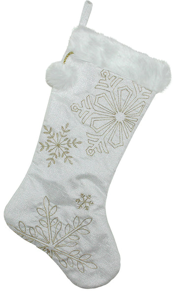 white stocking with silver sequined snowflake