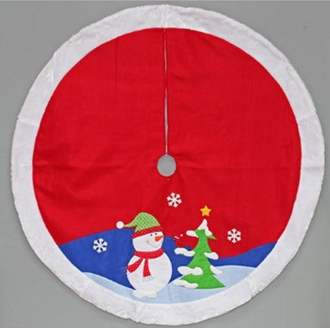 "48"" red snowman applique tree skirt"