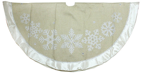 "48"" gold weave burlap with snowflakes tree skirt"