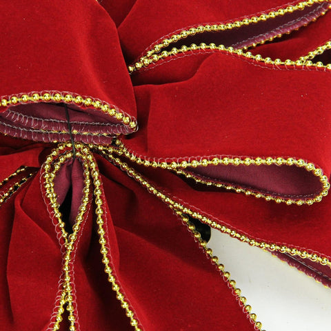 "11"" x 29.5"" Red Velveteen with Gold Beaded Trim 10 Loop Christmas Bow Decoration"