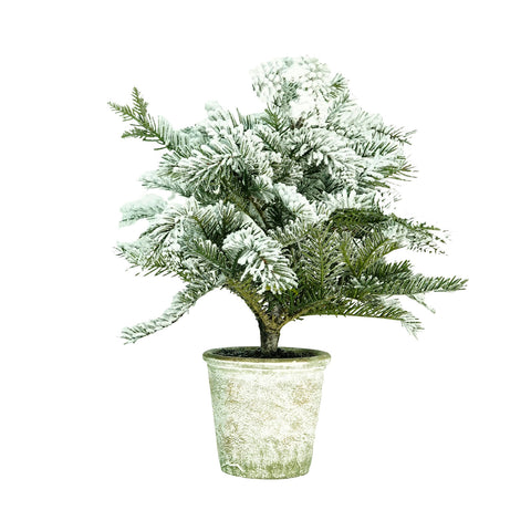 "20"" Artificial Flocked Pine Tree in Decorative Faux Paper Pot"