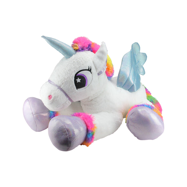 "42"" Super Soft and Plush White Sitting Winged Unicorn  with Rainbow Mane Stuffed Figure"