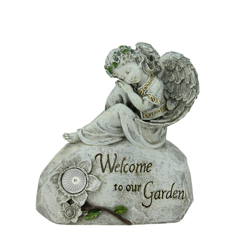 "10"" Peaceful Angel ""Welcome To Our Garden"" Solar Powered Outdoor Patio Statue"
