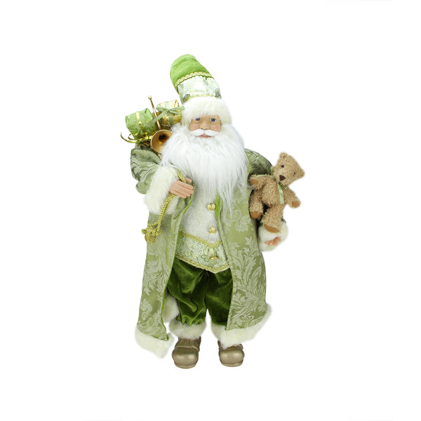 "24"" St. Patrick's Irish Standing Santa Claus Christmas Figure with Teddy Bear and Gift Bag"