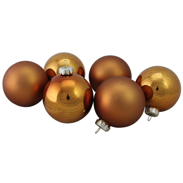 "6ct Bronze and Amber Glass 2-Finish Christmas Ball Ornaments 3.25"" (80mm)"