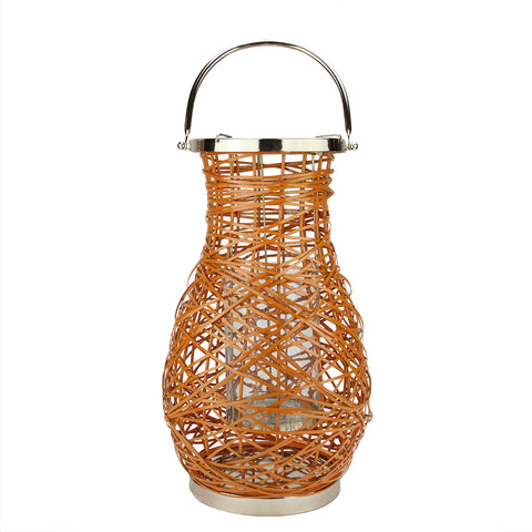"16.25"" Modern Orange Decorative Woven Iron Pillar Candle Lantern with Glass Hurricane"
