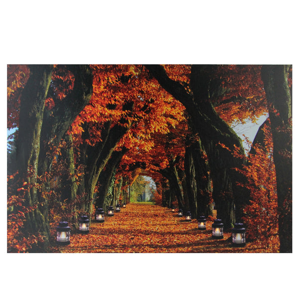 "LED Lighted Fall Foliage and Lanterns Canvas Wall Art 23.5"" x 15.5"""