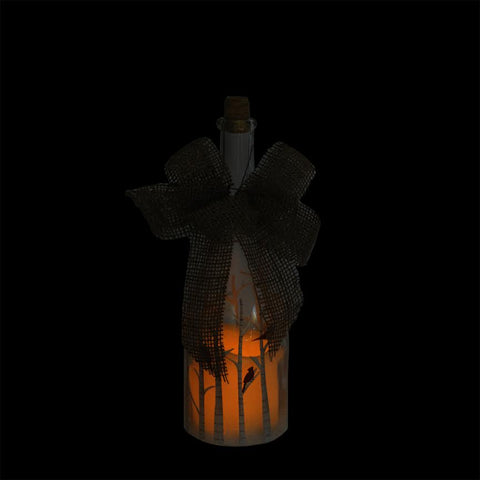 "10"" LED Flameless Pillar Candle in a Clear Glass Bottle Lantern with Bird Accents"