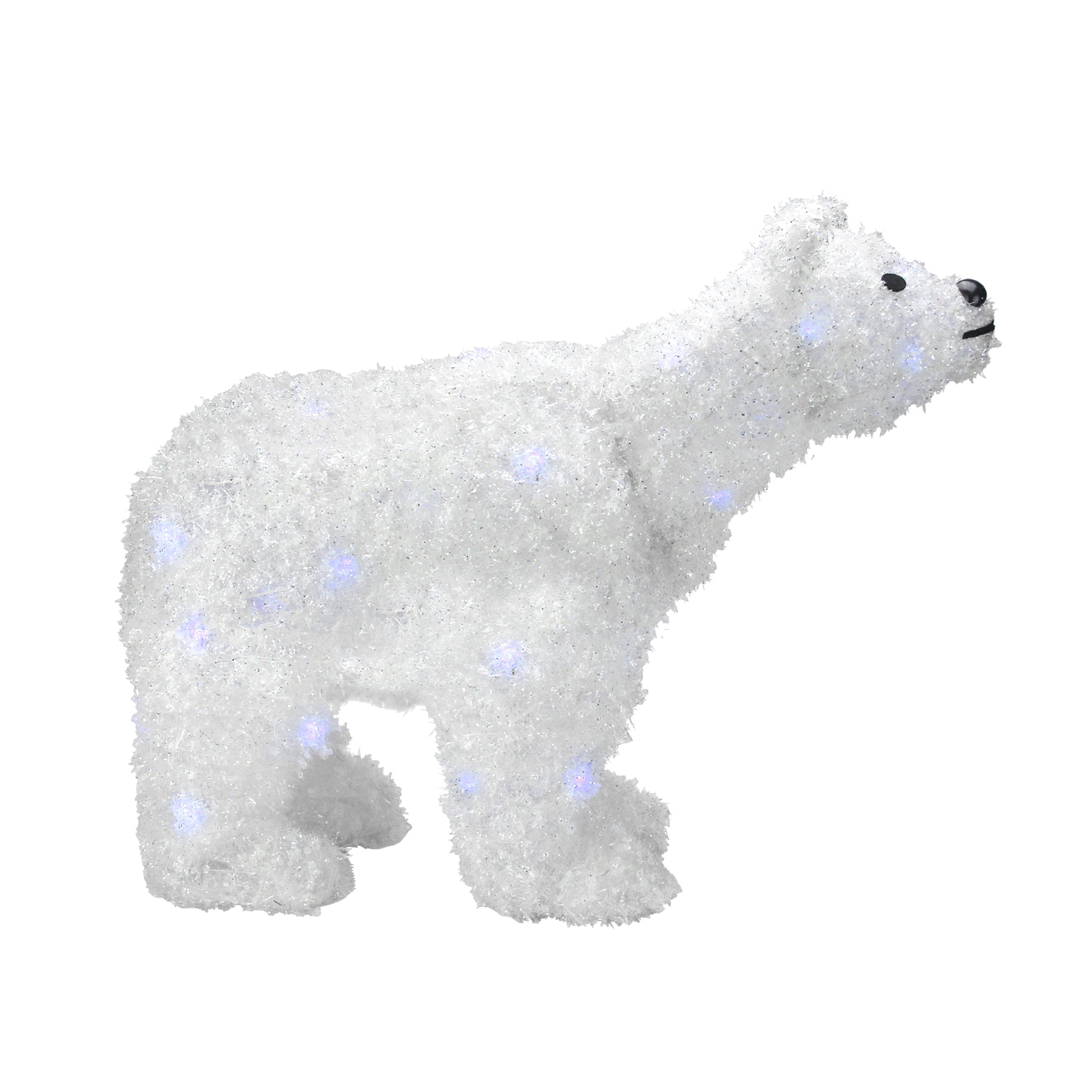 24 battery operated led lighted tinsel polar bear christmas decoration