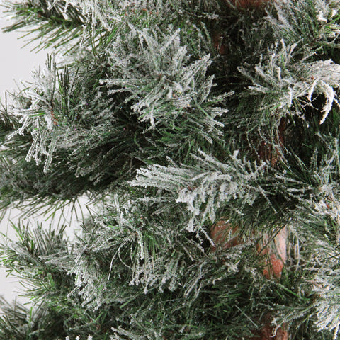 "4' x 24"" Frosted and Glittered Woodland Alpine Artificial Christmas Tree - Unlit"