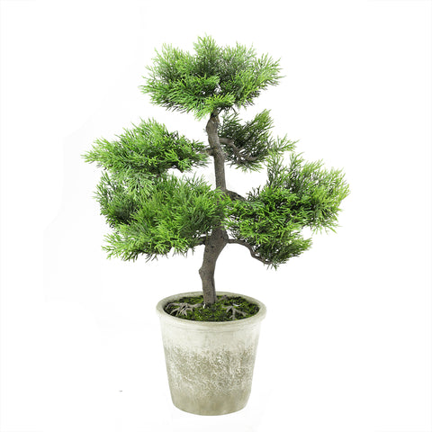 "20.25"" Artificial Japanese Bonsai Tree in Distressed Gray Pot"
