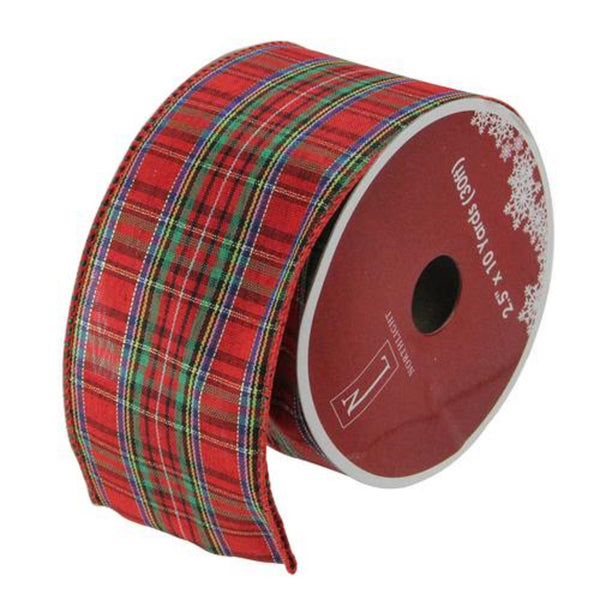 "Red and Green Stripe Wired Christmas Craft Ribbon 2.5"" x 10 Yards"