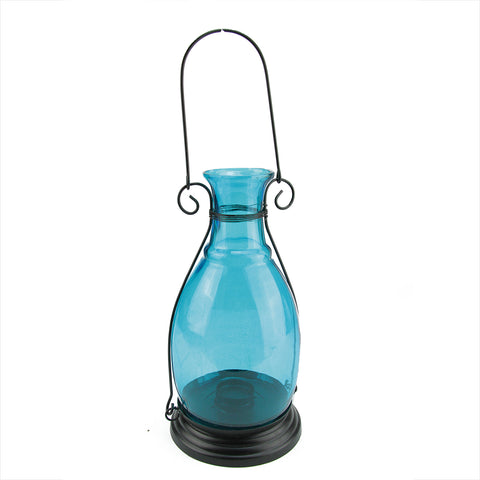 "10.5"" Transparent Blue Decorative Glass Bottle Vase Tea Light Candle Lantern"