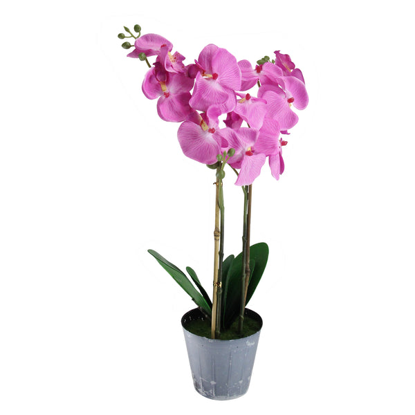 "20"" Potted Pink Phalaenopsis Orchid Artificial Silk Flower Plant"