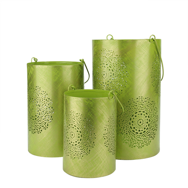 Set of 3 Green and Gold Decorative Floral Cut-Out Pillar Candle Lanterns 10""