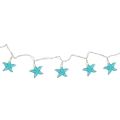 Set of 10 Under The Sea Teal Blue Starfish Patio and Garden Novelty Christmas Lights - White Wire