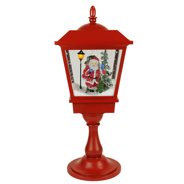 "25.25"" Lighted Musical Santa Claus Snowing Red Table Top Christmas Street Lamp"