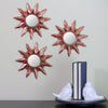 Set of 3 Mayan Sunburst Matte Copper Round Mini Mirrors 9.5""