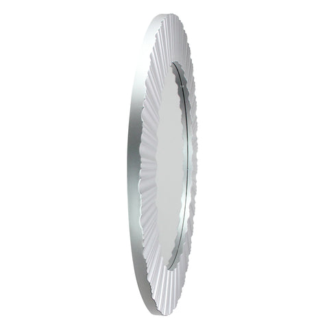 "20"" Silver and White Elegant Fluted Round Wall Mirror"
