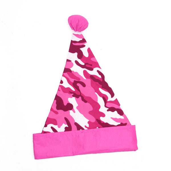 "16"" Pink and White Camouflage Christmas Santa Unisex Adult Hat Costume Accessory - One Size"