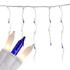 Set of 300 Blue and Frosted Clear Icicle Mini Christmas Lights - 22ft White Wire