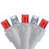 Set of 70 Pure White and Red LED Wide Angle Icicle Christmas Lights - 6 ft White Wire