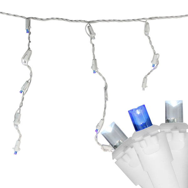 Set of 60 Blue and Pure White Twinkling LED Icicle Christmas Lights - White Wire