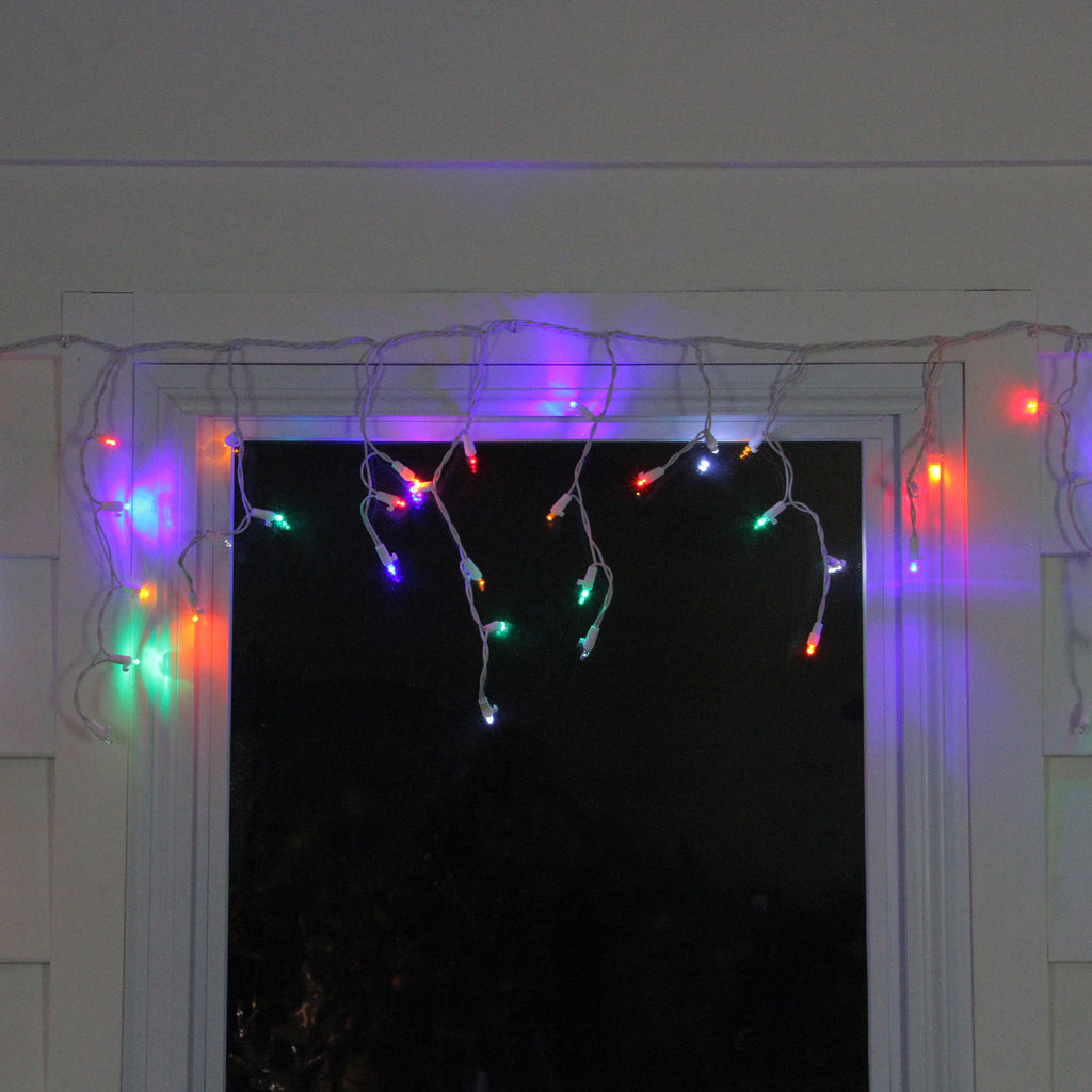 Icicle Christmas Lights.Set Of 60 Multi Color Led Twinkling Icicle Christmas Lights White Wire